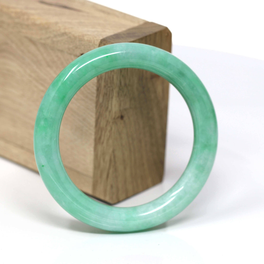 Natural Burmese Apple Green Jadeite Jade Bangle Bracelet ( 53.6 mm) #441