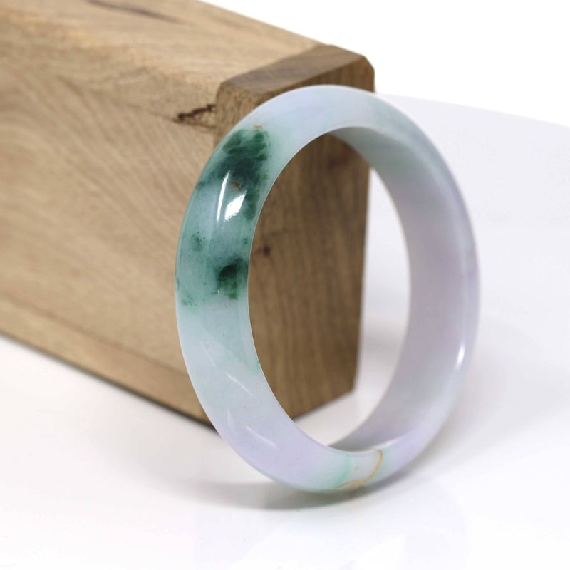 18k Gold Inlaid Real Jadeite Jade bangle Bracelet ( 57.3 mm ) #446