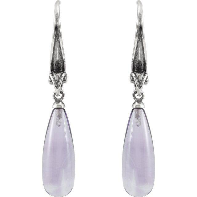 Sterling Silver Amethyst Briolette Earrings