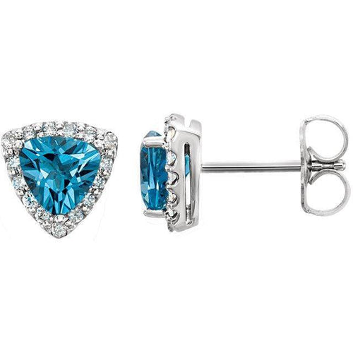 14K White Swiss Blue Topaz & .08 CTW Diamond Earrings