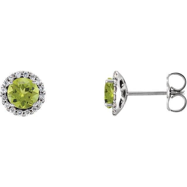 Sterling Silver Peridot & 1/6 CTW Diamond Earrings
