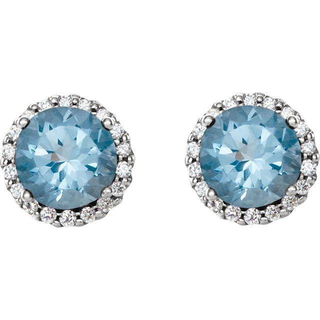 14K White Aquamarine & 1/6 CTW Diamond Earrings