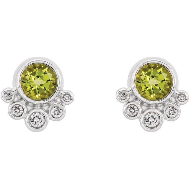 14K White Peridot & 1/8 CTW Diamond Earrings