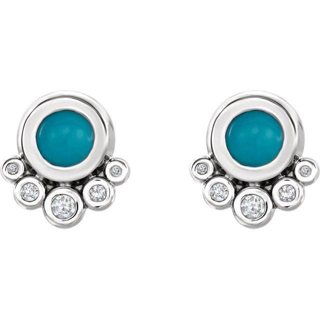 14K White Gold Turquoise & 1/8 CTW Diamond Earrings