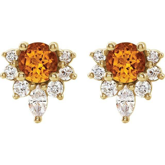 14K Yellow Citrine & 1/6 CTW Diamond Earrings