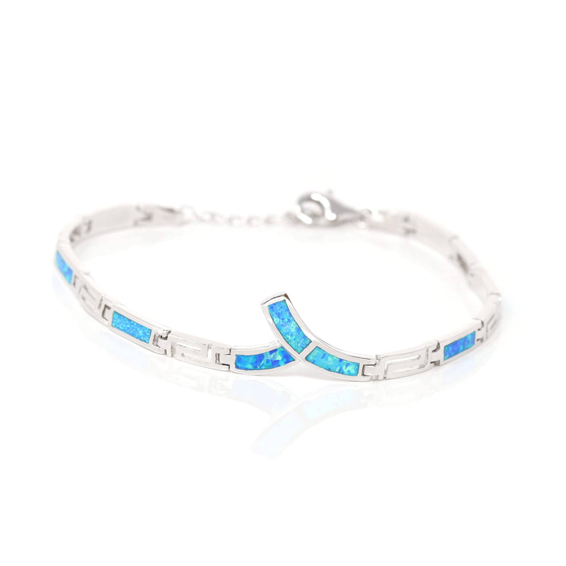 Sterling Silver Lab-Created Classic Opal Geometry Bracelet