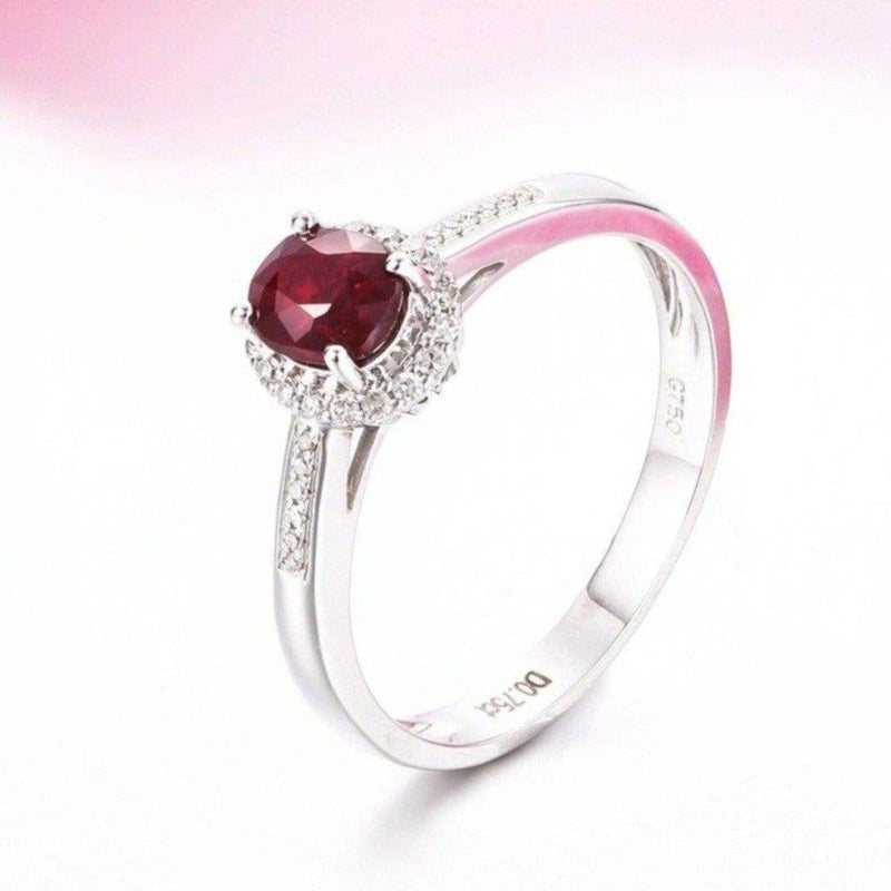 18k White Gold & Genuine Ruby Ring with Diamonds Baikalla Jewelry