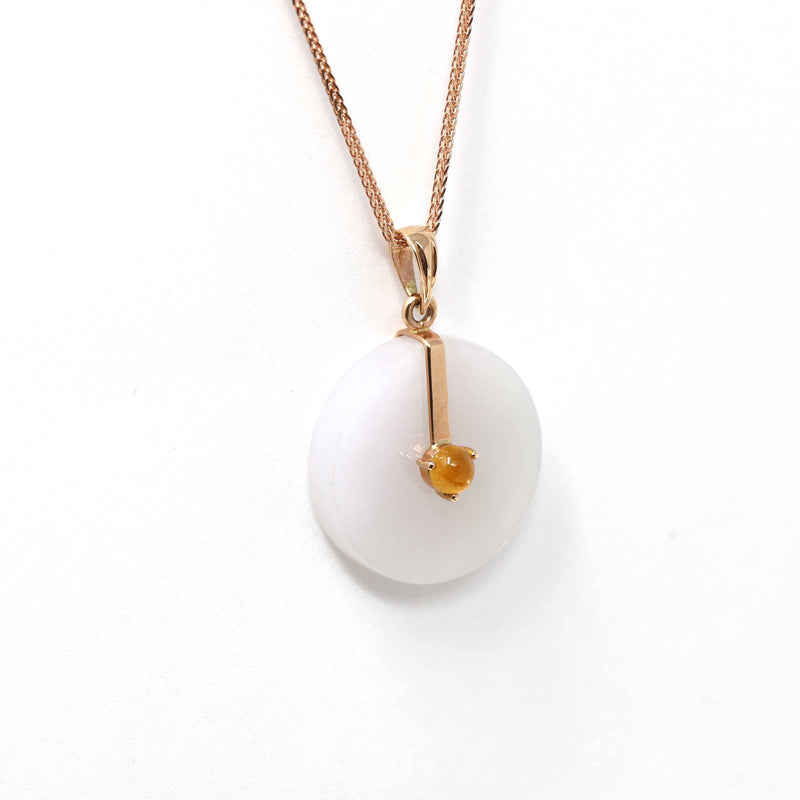 18k Rose Gold Genuine Lavender Burmese Jadeite Lucky Circle Pendant Necklace with Yellow jade JN12