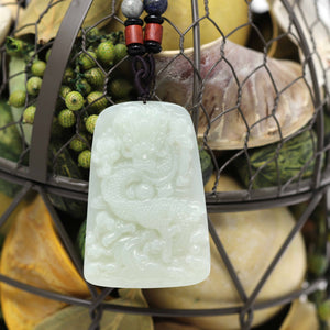 White Nephrite Jade Double Dragon Pendant Necklace ( Carved Art )