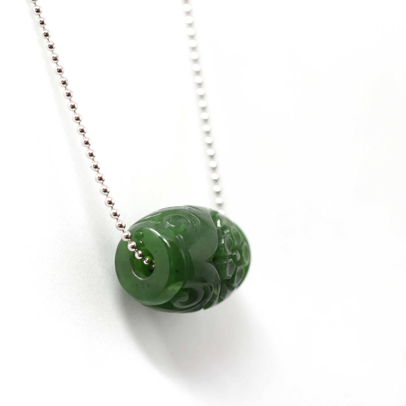 Genuine HeTian Nephrite Green Jade Lucky Bead Pendant Necklace With Flower Pattern