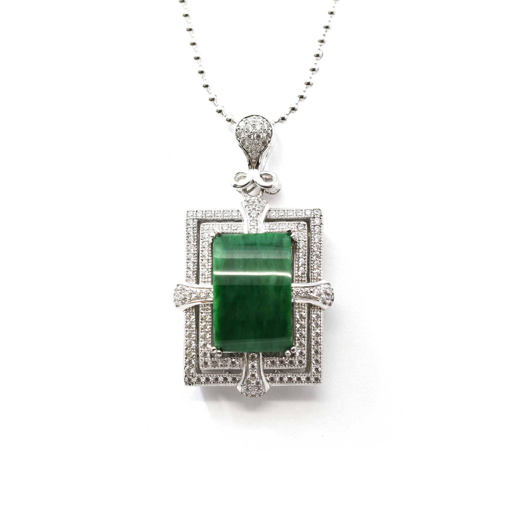 Sterling Silver Jadeite Jade Classic Pendant Necklace With CZ