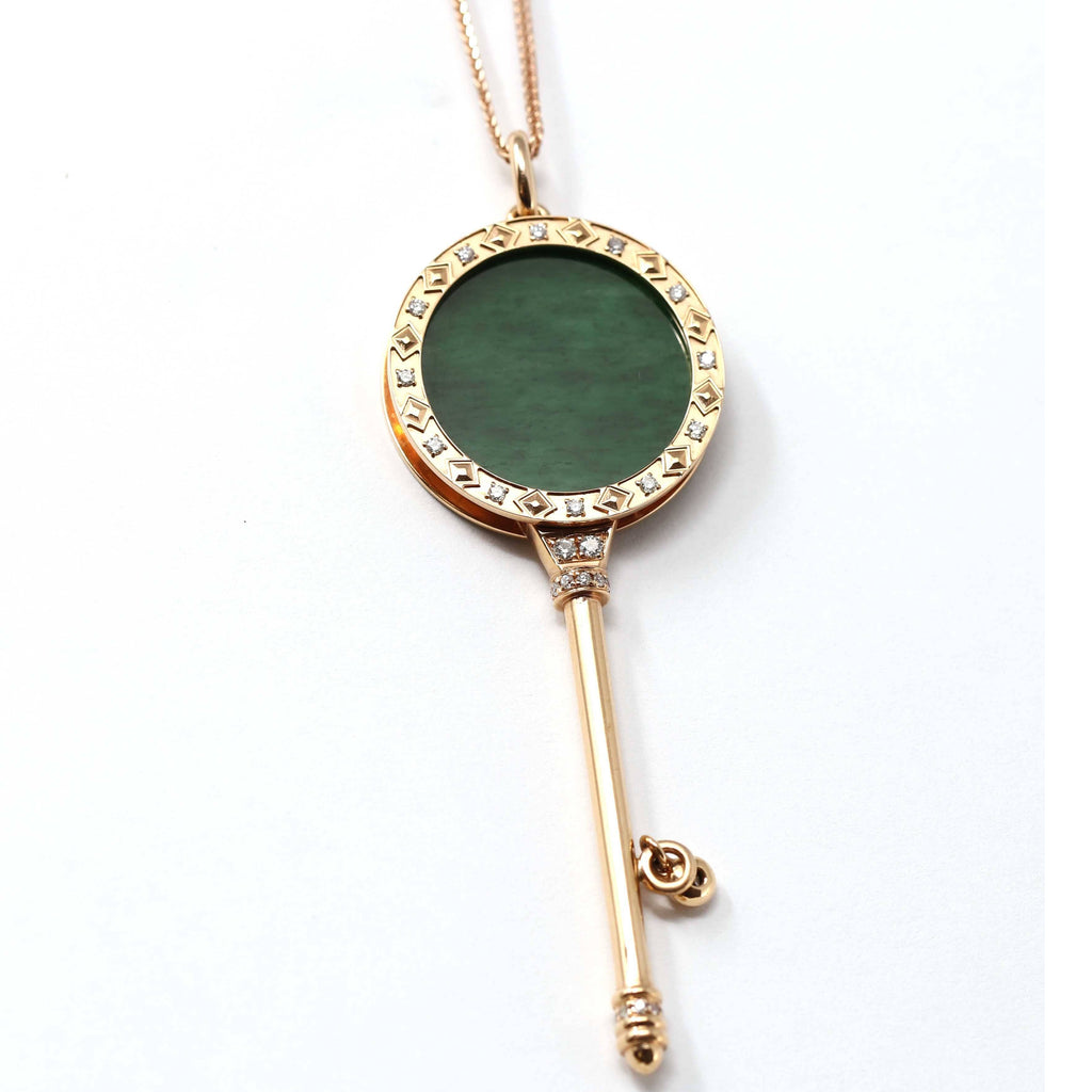 18k Rose Gold Jadeite Jade Key Pendant Necklace With Diamond