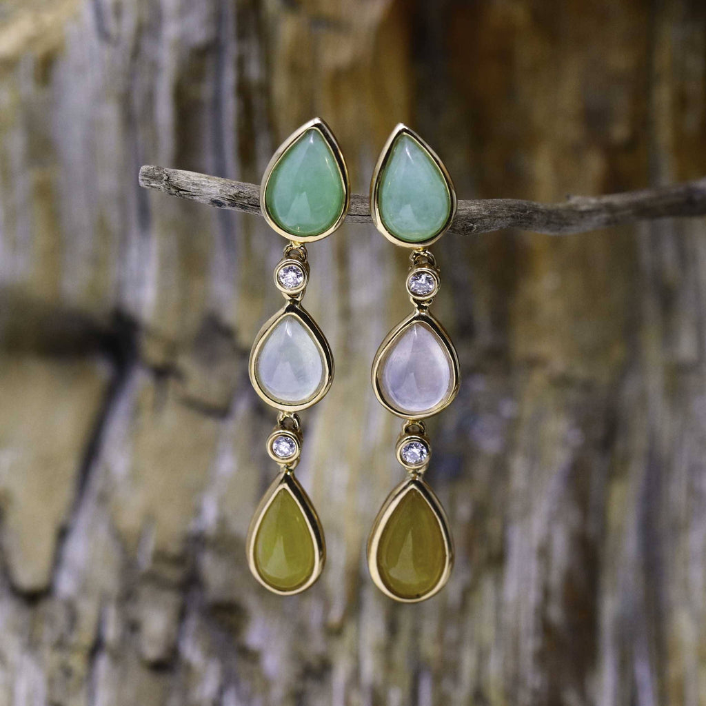 18K Royal Rose Gold Genuine Jade Jadeite Drop Earrings #GJ116