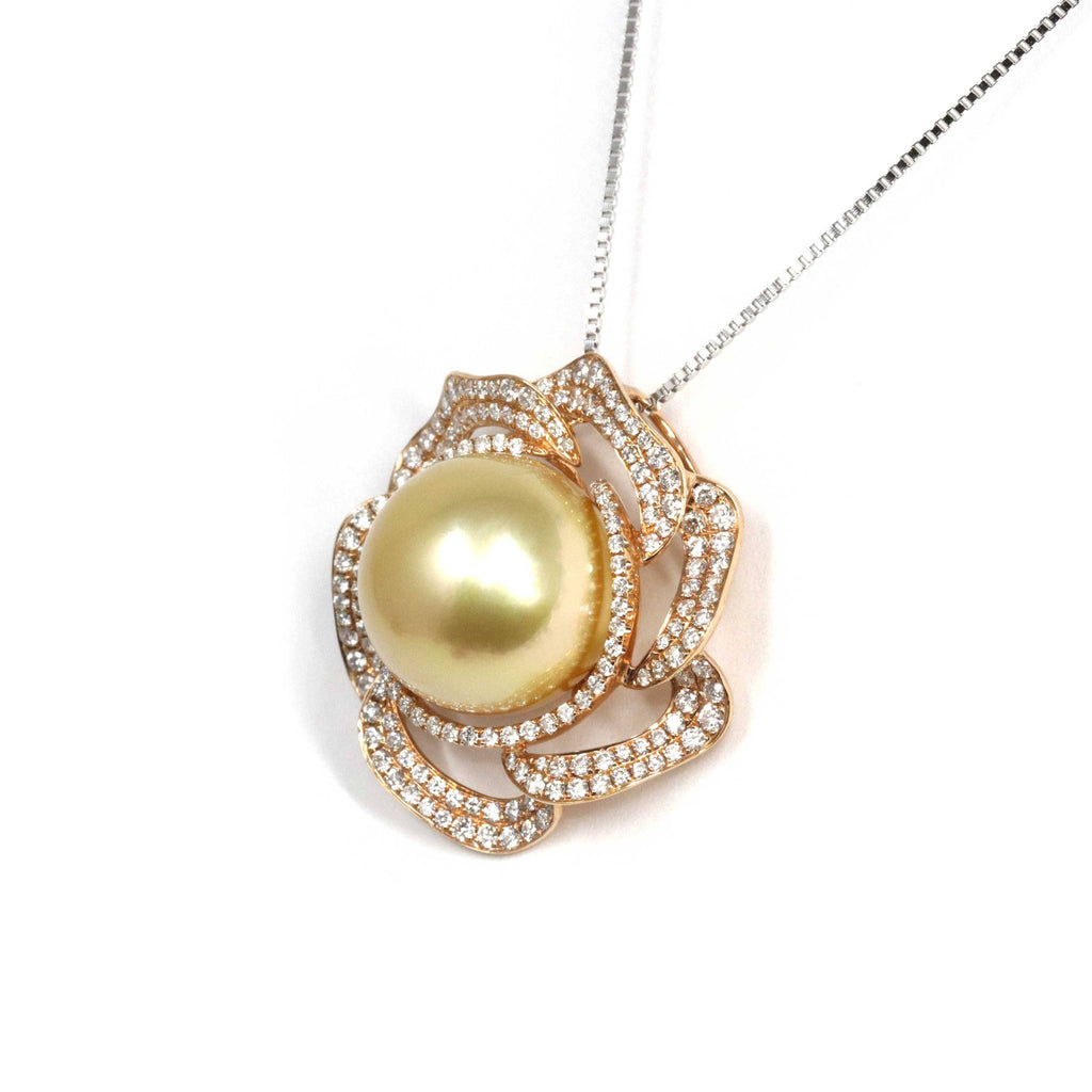 Baikalla Jewelry™ High-end 18k Gold Round Golden South Sea Cultured Pearl & Diamond Pendant Necklace AAA Quality