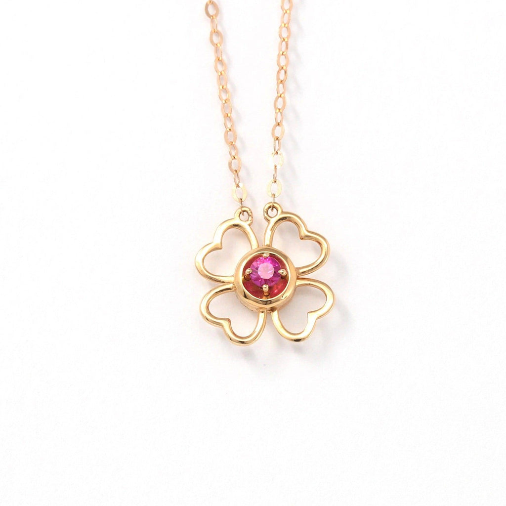 18K Rose Gold & Ruby & Diamond Pendant Necklace (4 in 1)  Baikalla Jewelry