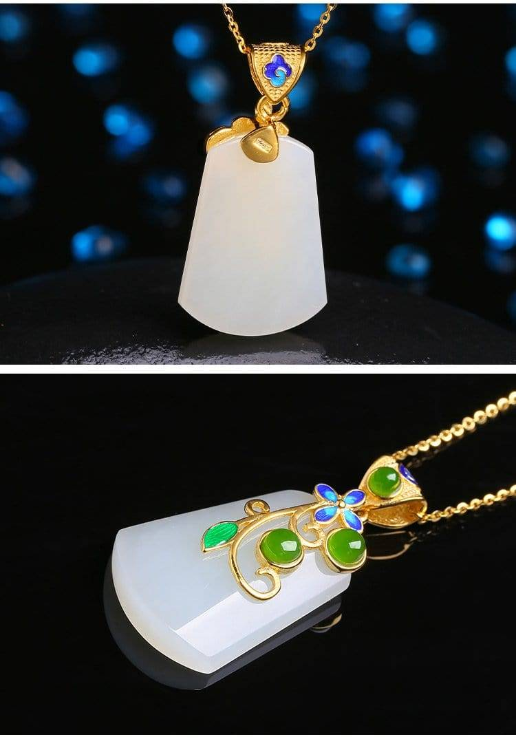 Simple white jade pendant with SS accents
