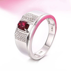18k White Gold Natural 0.55 ct Ruby Men's Halo Ring with Diamonds