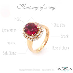 18k White Gold Natural Round Ruby Diamond Engagement Ring