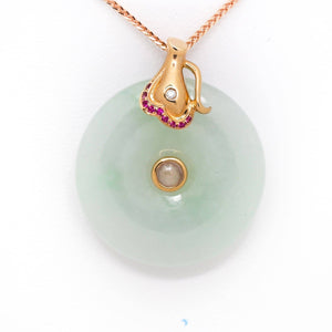 18k Rose Gold Genuine Burmese Jadeite Constellation (Aquarius) Necklace Pendant with Diamonds & Ruby