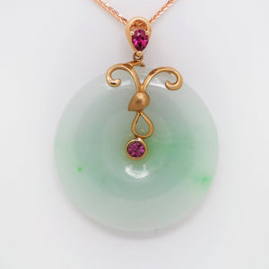 18k Rose Gold Genuine Burmese Jadeite Constellation (Aries) Necklace Pendant with Tourmaline