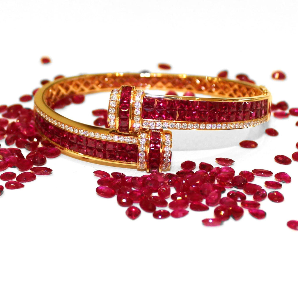 18K Rose Gold Natural Ruby and Diamond Hinge Bracelet