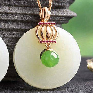 Genuine Nephrite White & Green Jade Crown Pendant