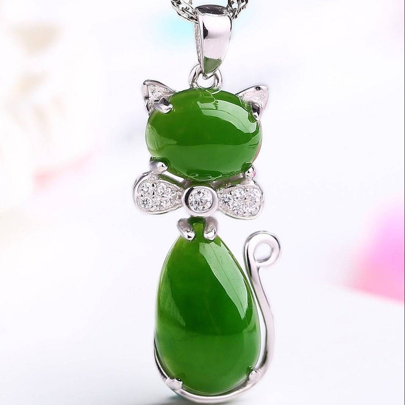 Sterling Silver Genuine Nephrite Green Jade Cat Pendant