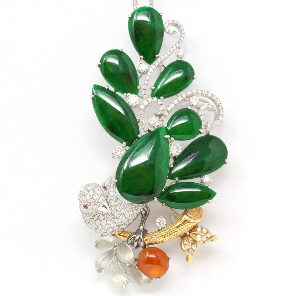 """Bird on A Tree"" Baikalla Jewelry Signature Neck-piece Brooch Necklace"