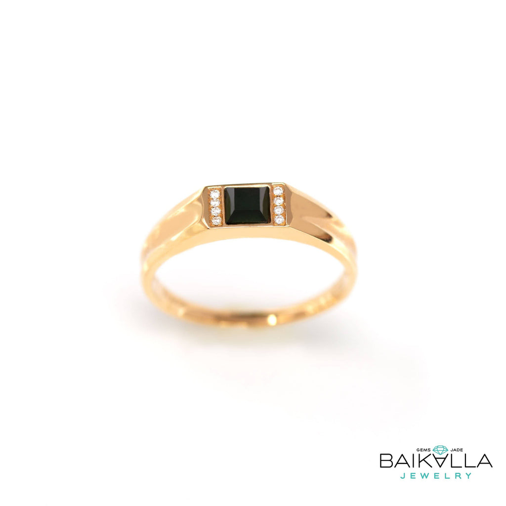 "Baikalla™ ""Classic Princess cut""Genuine Burmese Emerald Cut Black Jadeite Jade Engagement Ring"