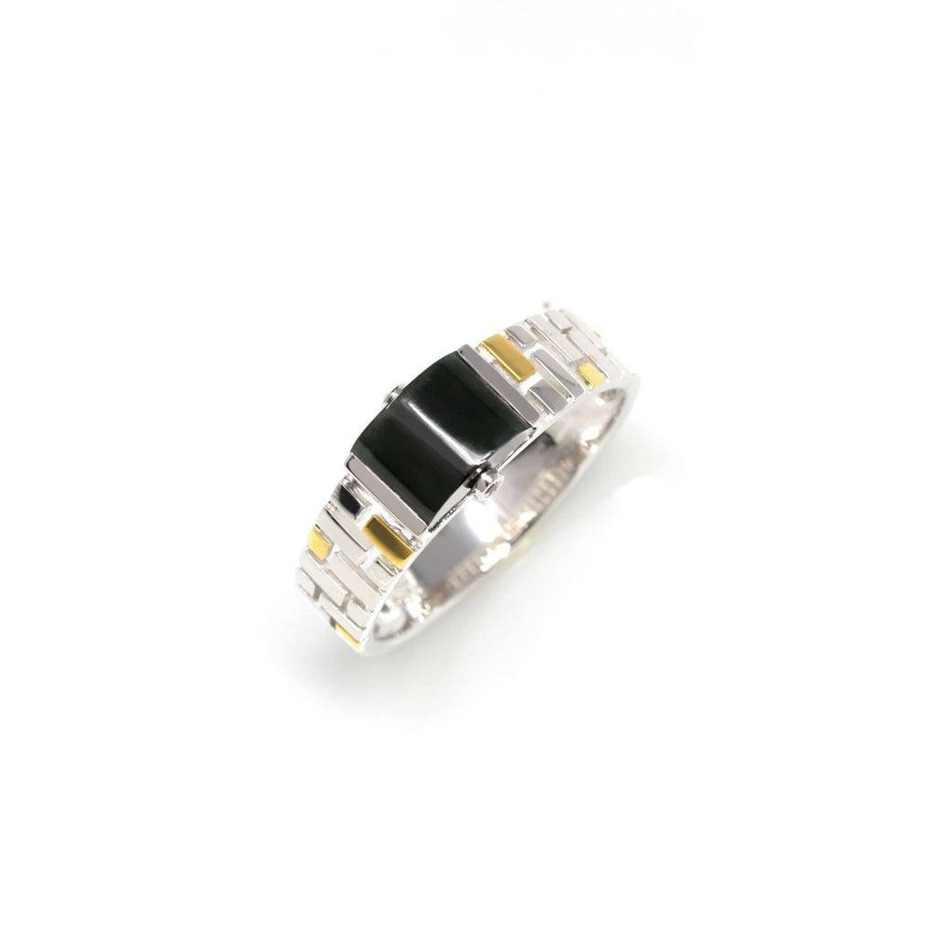 "Baikalla™ ""Mutli-Colored Half Round"" Genuine Burmese Black Jadeite Jade Engagement Wedding Bands Rings"