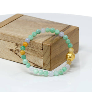Genuine High-quality Jade Jadeite Bracelet Bangle with 24k Yellow Gold Buddha Symbol ( Six Word Proverbs ) Charm #429