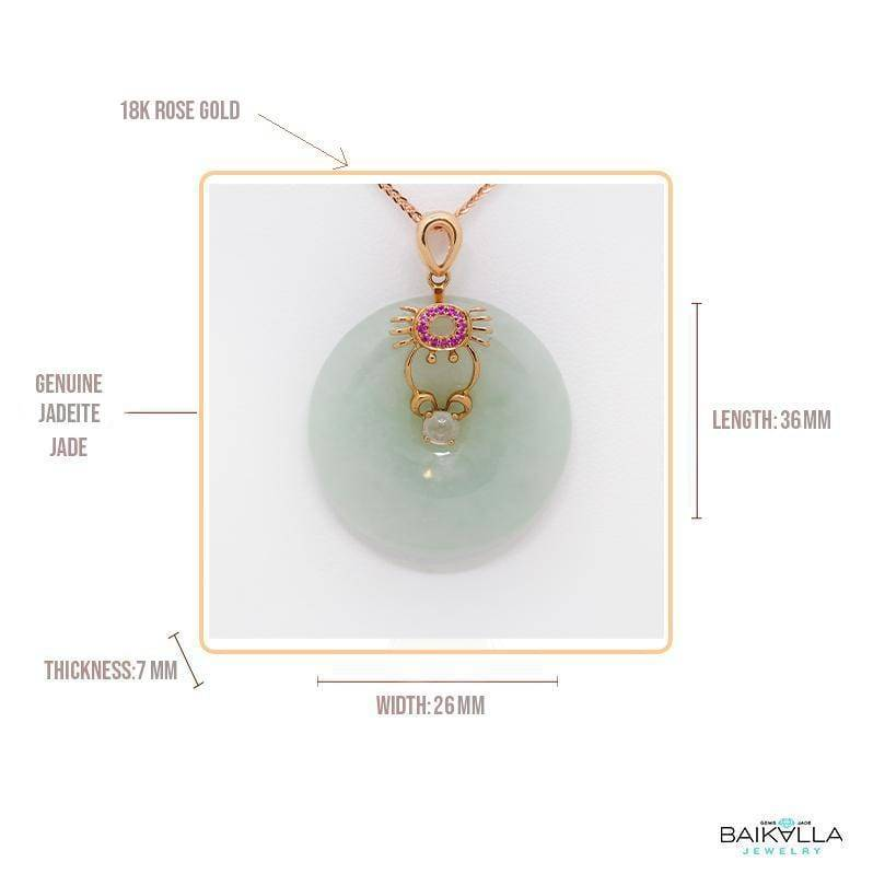 18k Rose Gold Genuine Burmese Green Jade Jadeite Constellation Horoscope (Cancer) Necklace Pendant with Ruby
