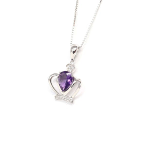 "Baikalla ""LOVE Crown"" Sterling Silver Natural Crown Amethyst Necklace With CZ"