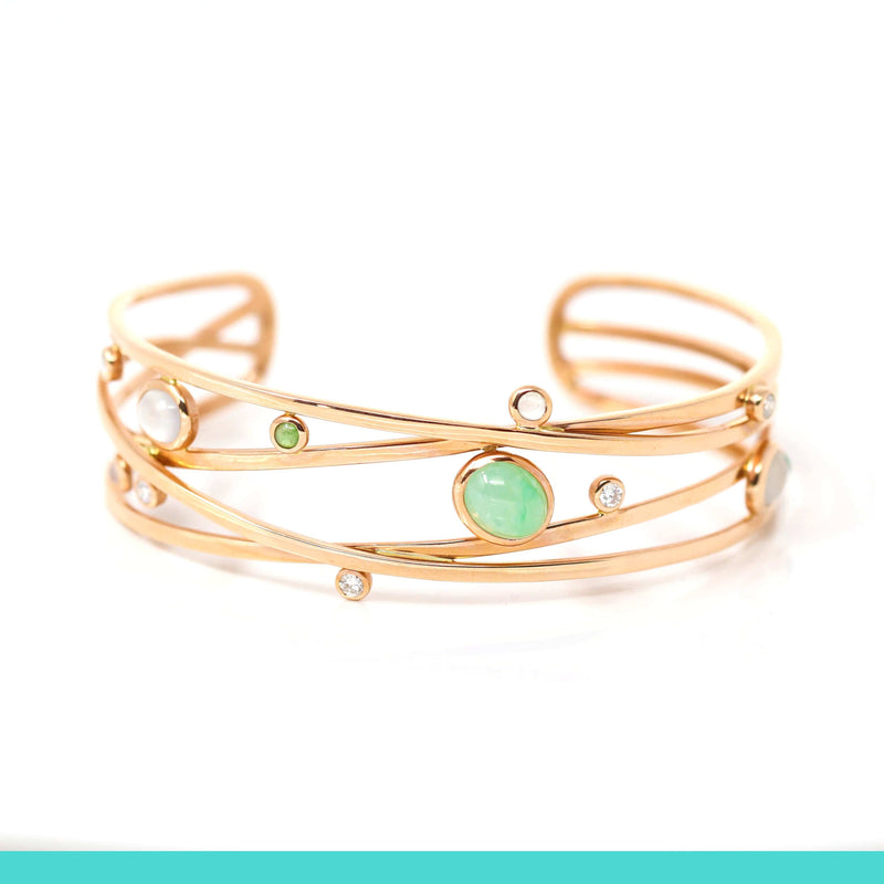 18k Rose Gold Oval Bracelet Bangle with Jade & Diamonds