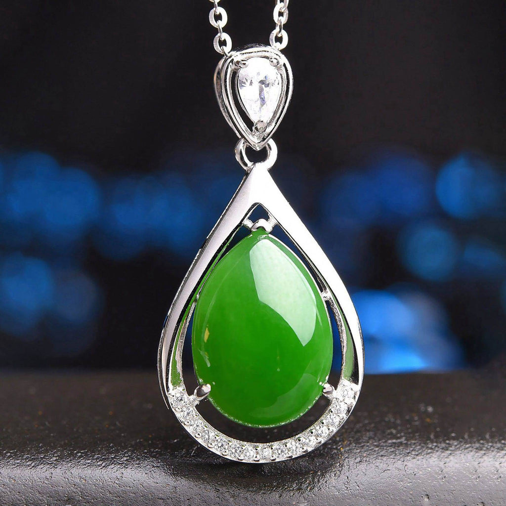 Genuine Green Nephrite Jade Tear Drop Pendant Necklace With CZ