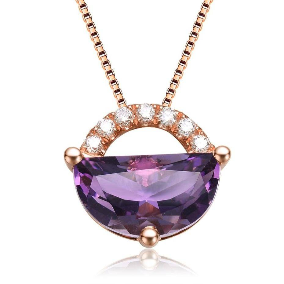 "18K Gold Genuine Amethyst Necklace W/Diamonds ""My other Half is You"" Collection"