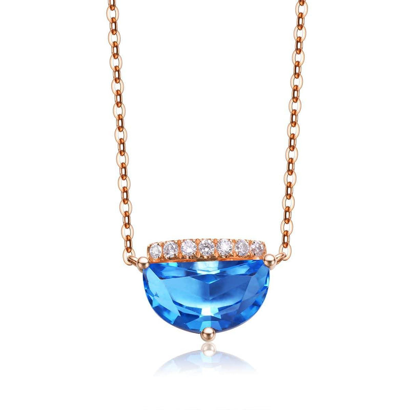 "Baikalla™ ""Jean"" 18K Gold Genuine Topaz Necklace W/Diamonds ""My other Half is You"" Collection"