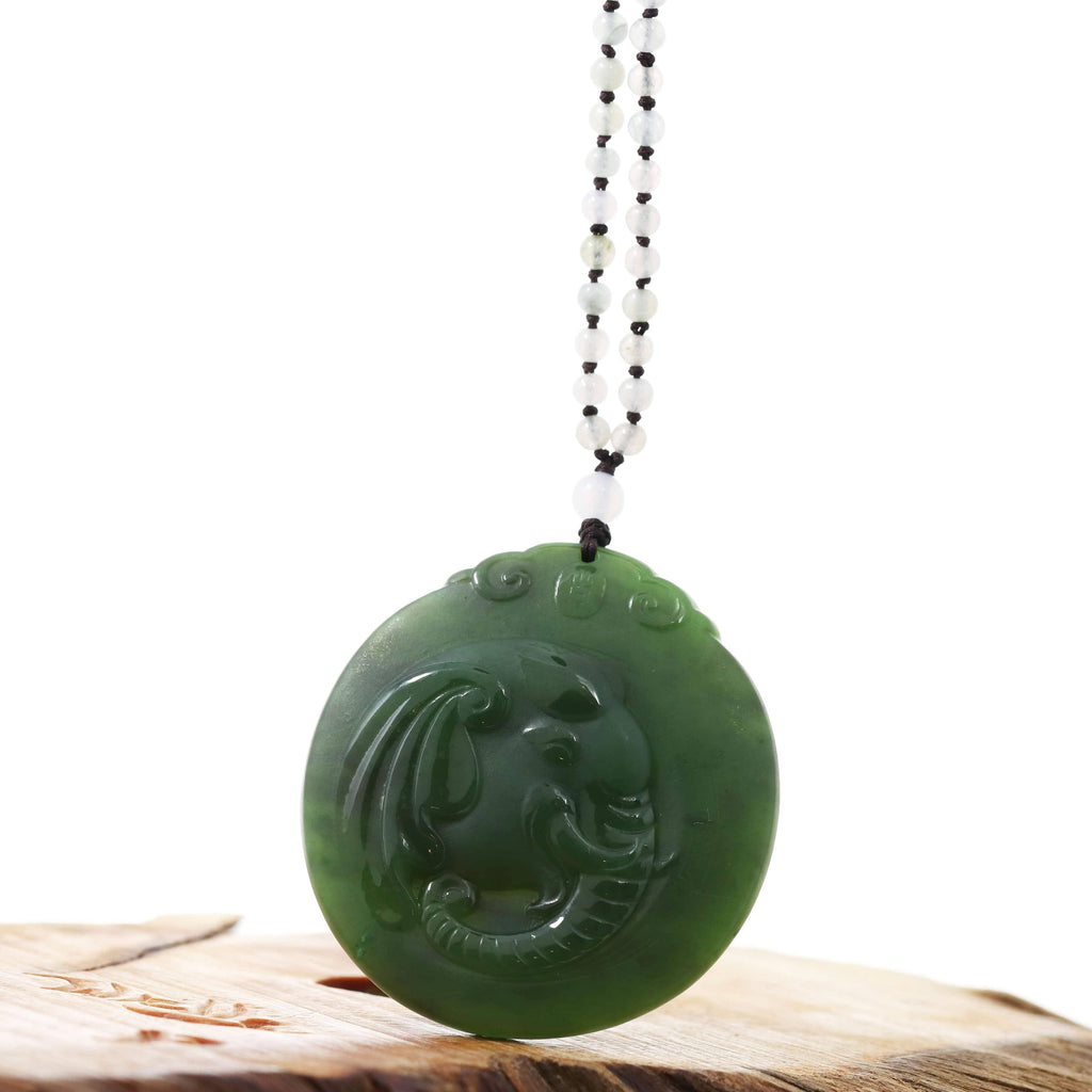 "Baikalla™ ""Lucky Jade Elephant"" Nephrite Jade Necklace With Natural Jadeite Beads Necklace"