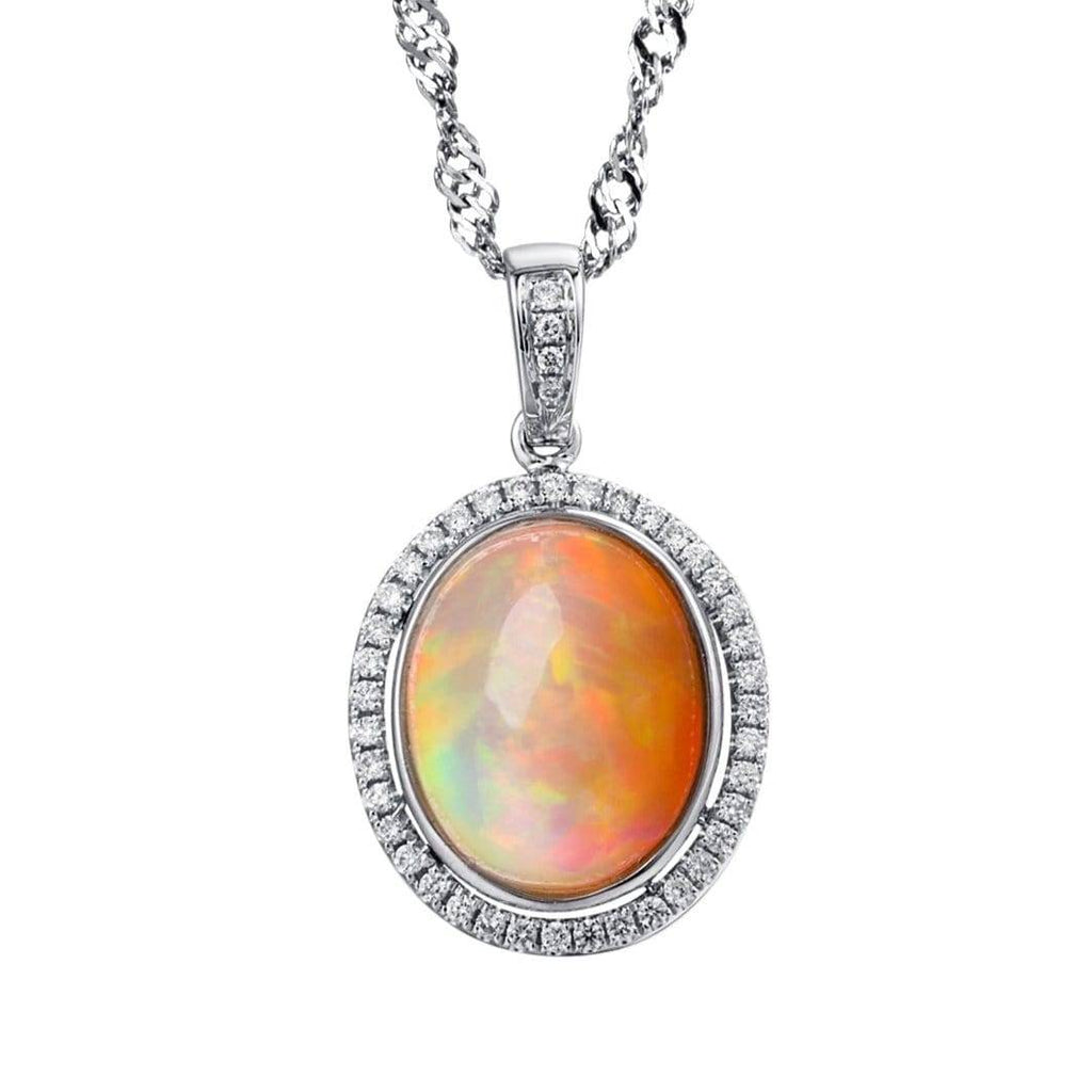 18k gold Ethiopian Opal Pendant W/Diamonds