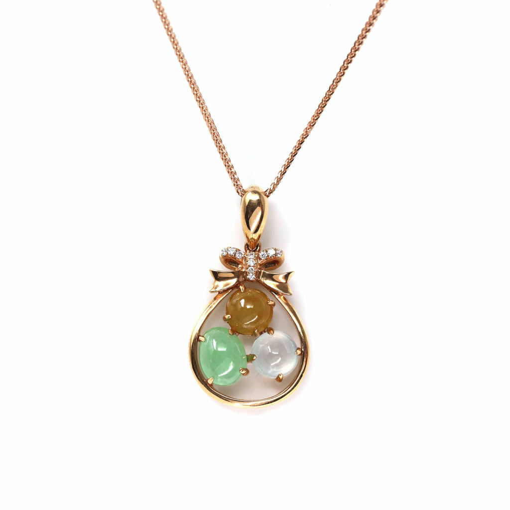18k Rose Gold Jadeite Jade Diamond Pendant Necklace ( Ice & Green & Yellow Jade )