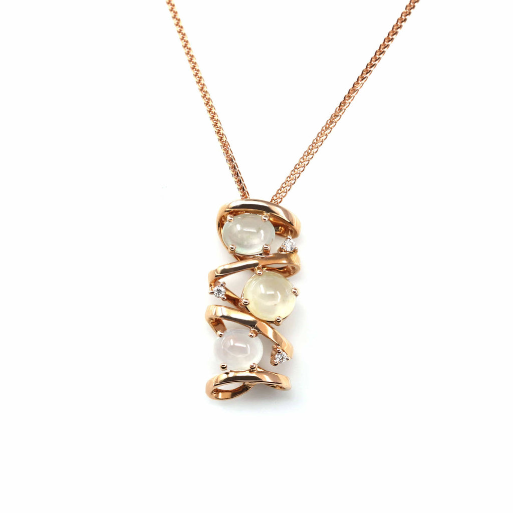 "Baikalla™ ""Alice"" 18k Rose Gold Ice Jadeite Jade Diamond Pendant Necklace"