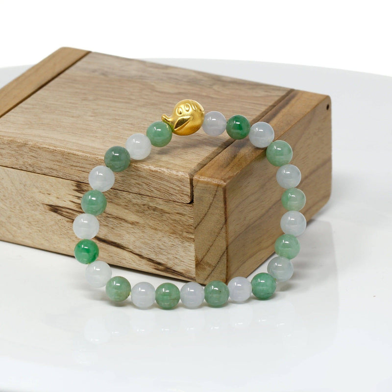 Genuine High-quality Jade Jadeite Bracelet Bangle with 24k Yellow Gold Duck Charm #408