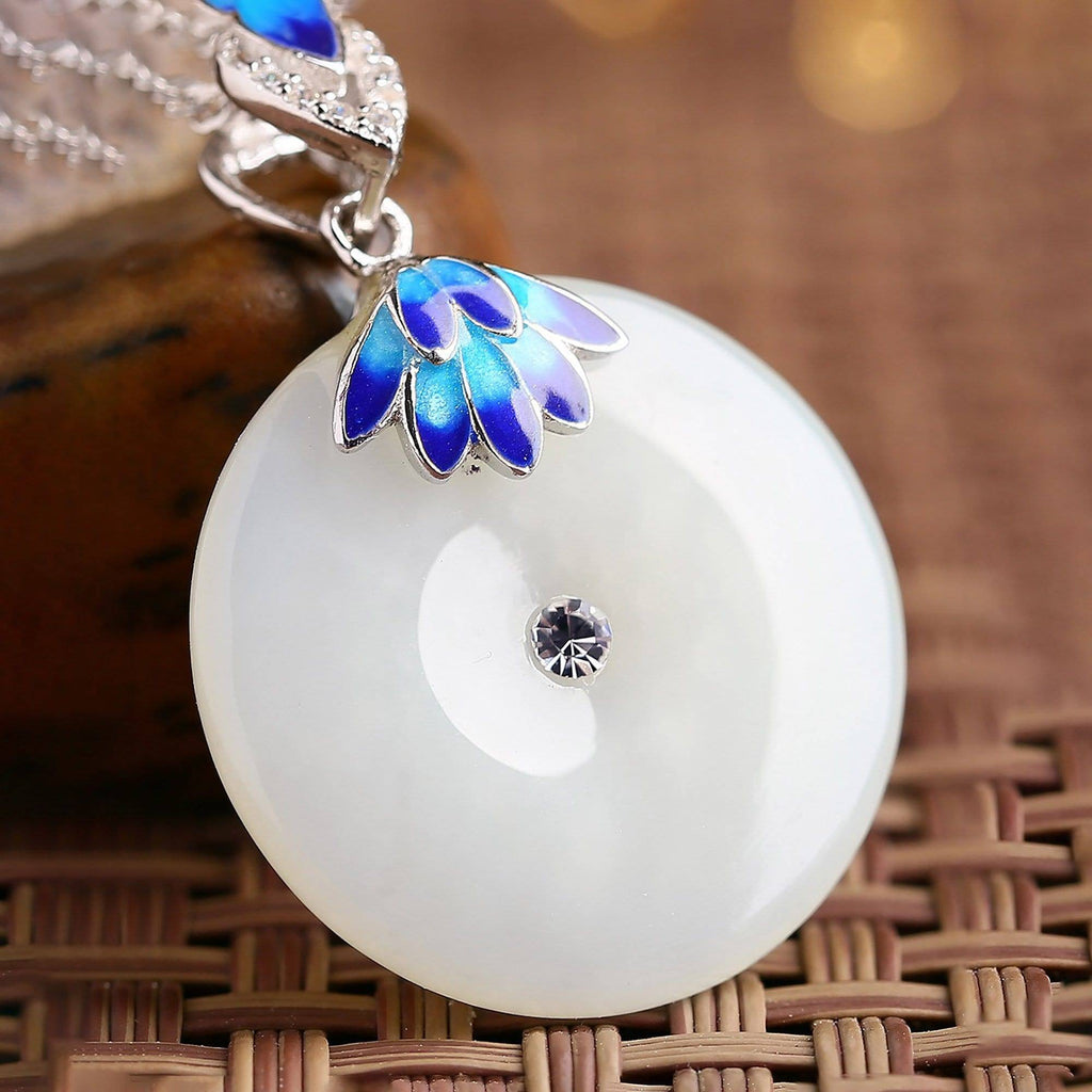 "Baikalla™  ""Circle of Happiness"" Genuine White Nephrite Jade Necklace With Silver Accents"