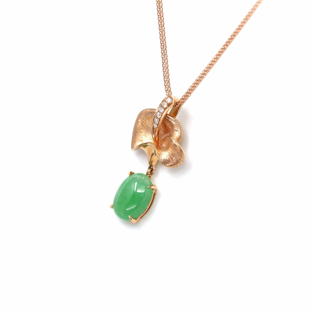 18k Rose Gold Jadeite Jade Diamond Pendant Necklace