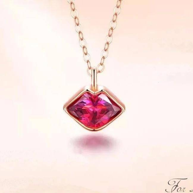 18K gold Pink Zircon Lip Necklace