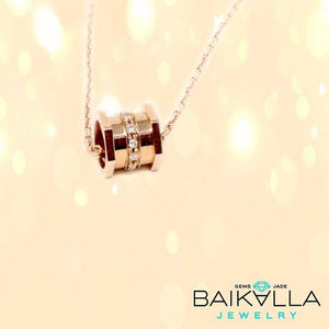 18k Rose Gold Barrel Necklace
