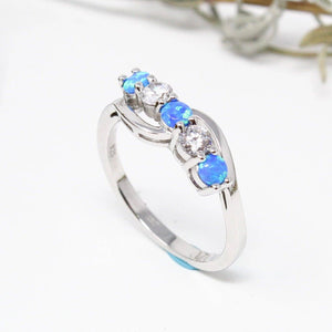 Sterling Silver Lab. Crtd. Opal Ring