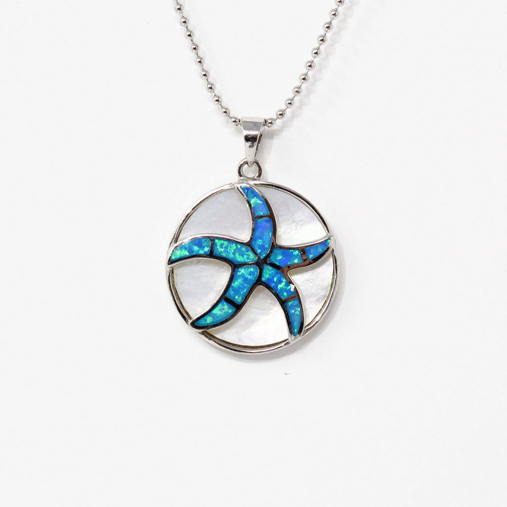 Sterling Silver Lab Crtd. Sea Star Opal Pendant