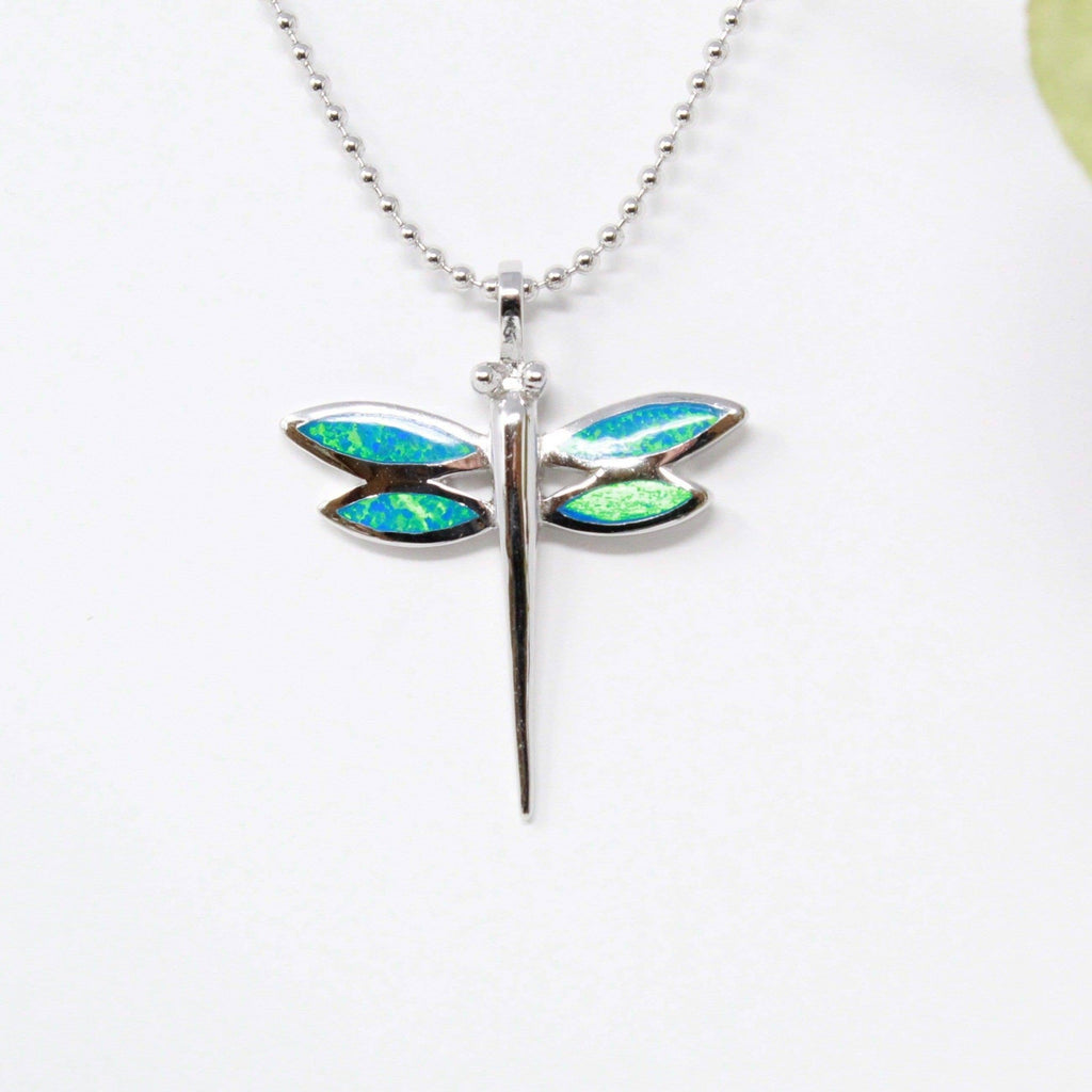 Sterling Silver Lab Crtd. Opal Dragonfly Pendant