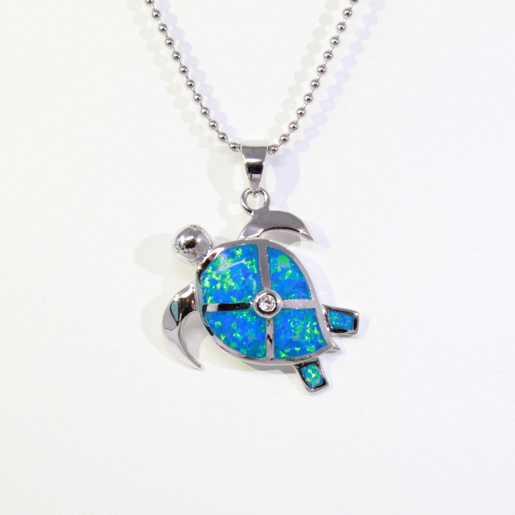 Sterling Silver Lab Crtd. Opal Turtle Pendant